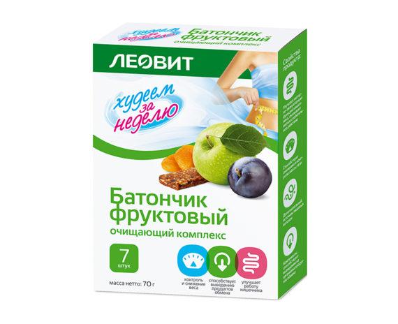 Леовит Батончик фруктовый Очищающий комплекс