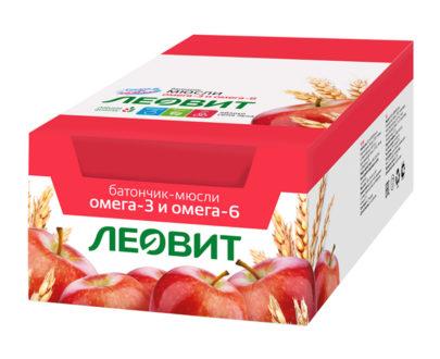 Леовит Батончик-мюсли с яблоком и семенем льна