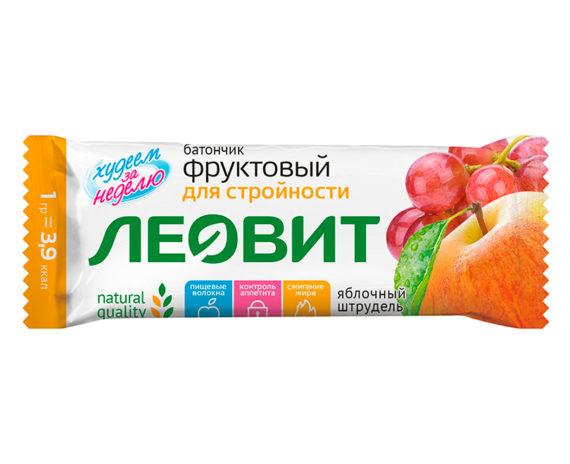 Леовит Батончик фруктовый Яблочный штрудель